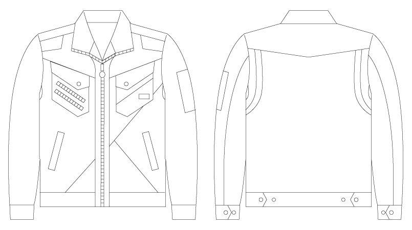 56300 自重堂JAWIN [春夏用]長袖ジャンパー(新庄モデル) ハンガーイラスト・線画