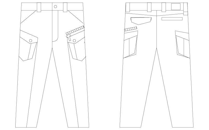 56402 自重堂JAWIN [春夏用]ノータックカーゴパンツ(新庄モデル) ハンガーイラスト・線画