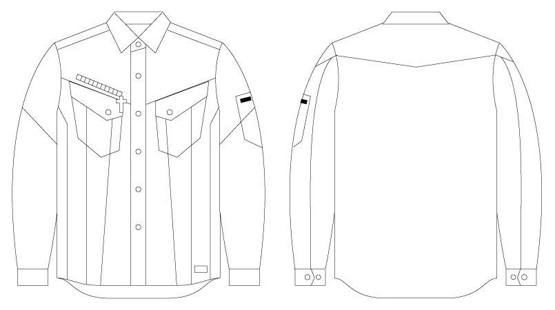 56404 自重堂JAWIN [春夏用]長袖シャツ(新庄モデル) ハンガーイラスト・線画