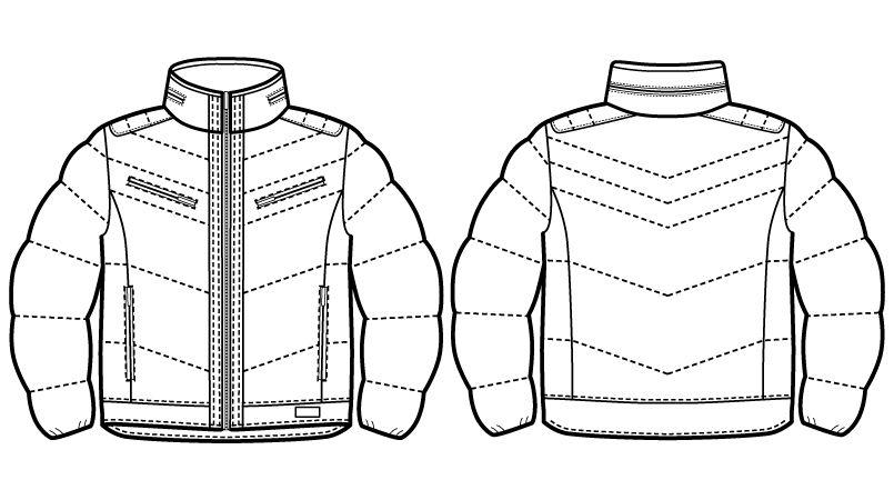 自重堂JAWIN 58400 マルチストレッチ防寒ジャンパー(フード付)[刺繍NG](新庄モデル) ハンガーイラスト・線画