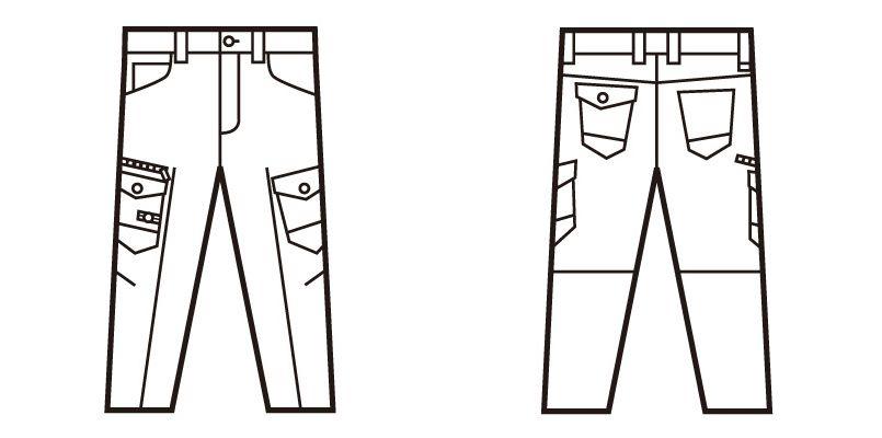 自重堂Z-DRAGON 71602 ストレッチデニムノータックカーゴパンツ ハンガーイラスト・線画