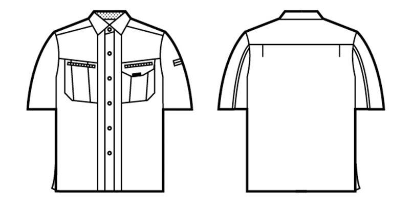 自重堂 84014 [春夏用]クールメッシュ半袖シャツ ハンガーイラスト・線画