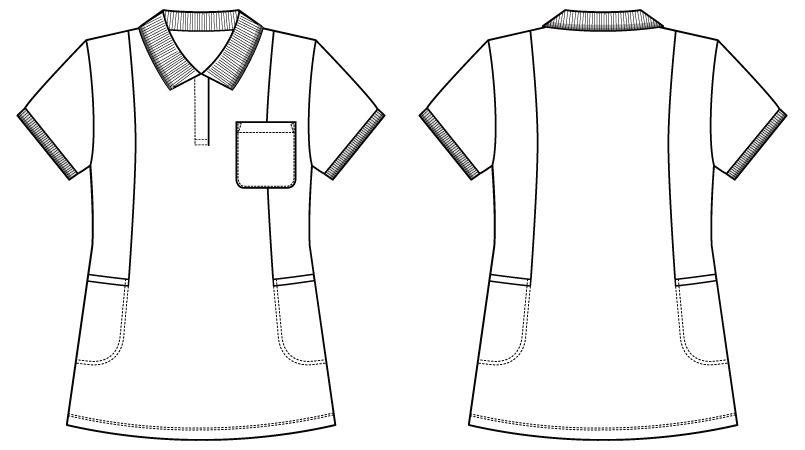 WH90338 自重堂WHISEL半袖 ドライポロシャツ(女性用) ハンガーイラスト・線画