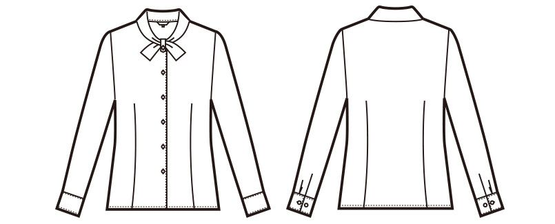 en joie(アンジョア) 01073 リボン風の襟が清楚な長袖ブラウス ハンガーイラスト・線画