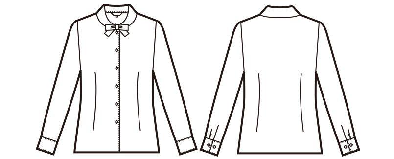 en joie(アンジョア) 01170 [通年]ふんわりオーラの丸襟に優しい印象のリボン付き長袖ブラウス ハンガーイラスト・線画