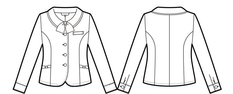 en joie(アンジョア) 21010 寒い時期にオススメ!落ち着きあるチェック柄の長袖オーバーブラウス(リボン付) ハンガーイラスト・線画