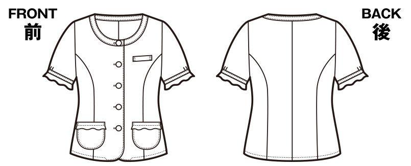 en joie(アンジョア) 26140 ネックラインを美しく見せる広め襟のチェック柄オーバーブラウス ハンガーイラスト・線画