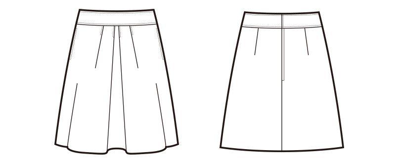 en joie(アンジョア) 51416 フロントタックでふんわりシルエットのフレアースカート(53cm丈) 無地 ハンガーイラスト・線画