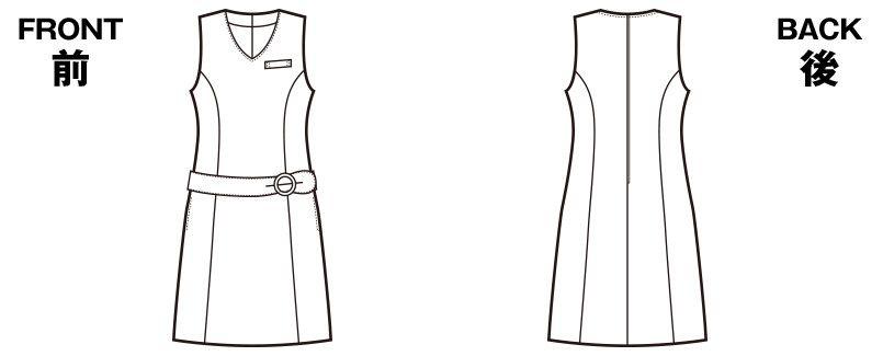 en joie(アンジョア) 61620 [秋冬用]すっきりとした印象のジャンパースカート 無地 ハンガーイラスト・線画