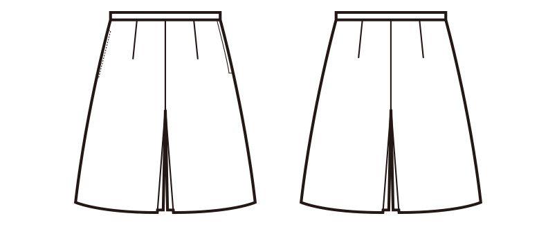 en joie(アンジョア) 71645 [通年]ボックスプリーツスカート風キュロット(53cm丈) 無地 ハンガーイラスト・線画