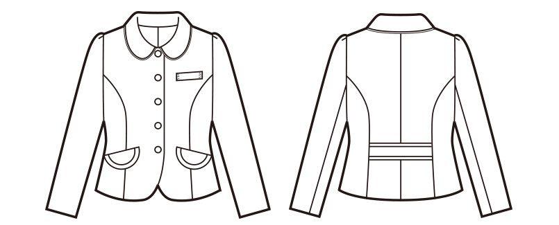 en joie(アンジョア) 81520 上品かわいいベージュ×黒の配色の好印象ジャケット 無地 ハンガーイラスト・線画