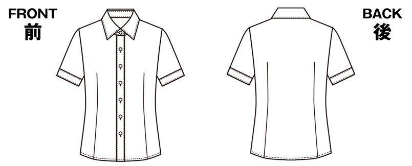ESB494 enjoy 肌に優しいソフトタッチの半袖シャツブラウス[制菌/防透/吸汗速乾/防臭] ハンガーイラスト・線画