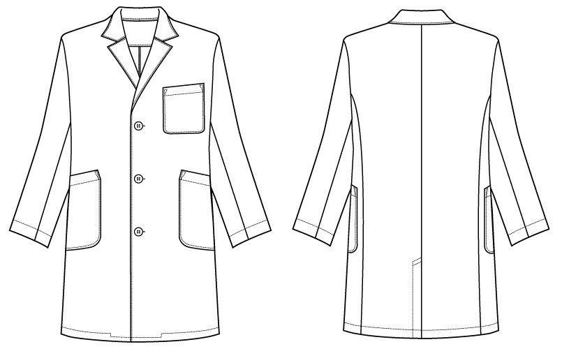 [ネット限定商品]81-491 MONTBLANC メンズ診察衣(ドクターコート) シングル 長袖 ハンガーイラスト・線画