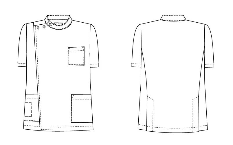 KES5167 ナガイレーベン(nagaileben) ケックスター 横掛半袖(男性用) ハンガーイラスト・線画